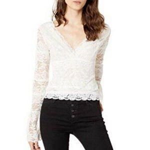 Guess Ivory Jordan Floral Lace Bell Sleeve Blouse